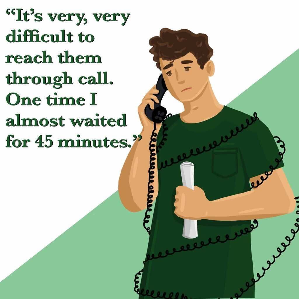 """This image shows a distraught cartoon man tangled up in curly phone wires. A quote next to him reads, """"It's very, very difficult to reach them through call. One time I almost waited for 45 minutes."""""""