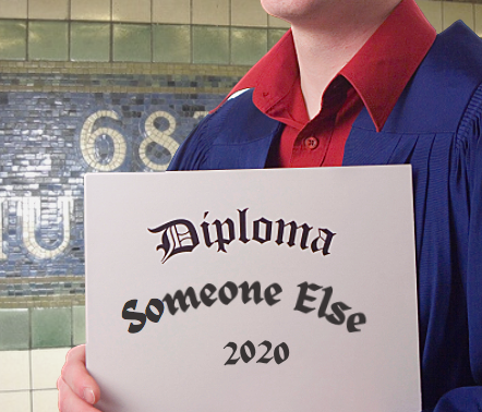 "Photo illustration shows a graduate on the 68th Street-Hunter College subway platform holding a diploma that says ""Someone Else."""